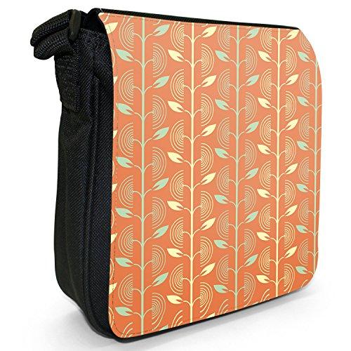 Rauten & Blätter Orange Gelb Kleine Schultertasche aus schwarzem Canvas Wiederkehrende Blätter wachsen an Linien