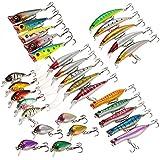 Lixada 30pcs Assorted Size Minnow Wobbler Fly Fishing Lures Crankbaits Popper Carp Fishing Artificial Hard Baits Kit Fishing Accessories Swimbaits