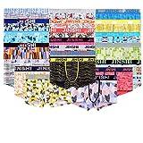 JINSHI Herren Bambusfaser Stretch Briefs ohne Eingriff Schnelltrocknend Unterwäsche Retro Boxer Trunks, Farbe:Multi-4pack-01, Gr. X-Large