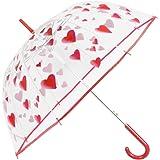 Ombrello Trasparente con Cuori Donna - Ombrello Cupola Automatico con Stampa Cuori Rossi - Resistente e Antivento - Fantasia