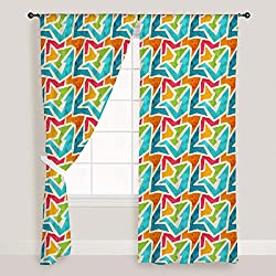 ArtzFolio Geometric - Portrait Shape 4feet x 10feet; SET OF 2 PCS - CURTAIN for ROOM & WINDOW of PREMIUM SATIN Fabric: Digital Printed Wall Curtain: Home Dcor for Living Room, Dining Room, Bedroom, Kids Room, Dining Room, Offices, Meeting Rooms : Abstract : Digital Art