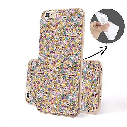 FINOO | Iphone 5 / 5S Weiche flexible Silikon-Handy-Hülle | Cover Schale mit Motiv | Tasche Case mit Ultra Slim Rundum-schutz | stoßfestes dünnes Bumper Etui | Viele Emojis Viele Emojis 2 SILIKON
