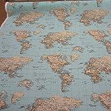 Stoff Meterware Weltkarte hellblau Landkarte Globus Erde