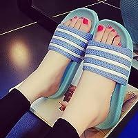 fankou Macho y Hembra de Verano Verano Zapatillas Baño con Bañera Antideslizante Zapatillas Encantadoras Parejas Rayas Estancia en Frío Pantuflas Azul Claro A,39-40,