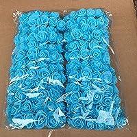 Artificial Forma Rose flores, Woopower 144pcs 2,5pulgadas Mini espuma de rosas ramo de flores DIY boda fiesta decoración para el hogar, azul, Tamaño libre