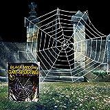 OWUDE 9 Feet Halloween Spinnennetz, gefälschte Spooky Spinnennetz Cobweb für Halloween Indoor/Outdoor Dekorationen Requisiten-Weiße Runde Spinnennetz