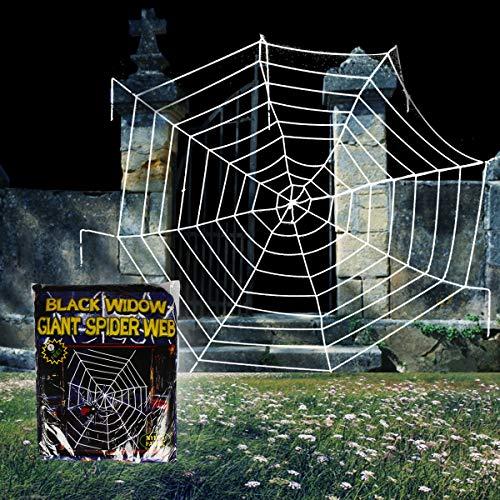 OWUDE 9 Feet Halloween Spinnennetz, gefälschte Spooky Spinnennetz Cobweb für Halloween Indoor/Outdoor Dekorationen Requisiten-Weiße Runde ()