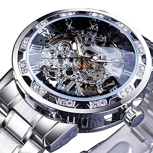 Liandd Diamond Design Black Skeleton Clock Silber Edelstahl Herren mechanische Uhren Top-Marke,B (Herren Uhr Fossil Digital)
