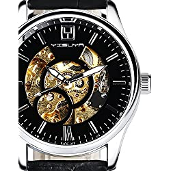 YISUYA Men's Black Skeleton Hand-wind Automatic Mechanical Watches with Genuine Leather Band Casual Business Steampunk Wristwatch