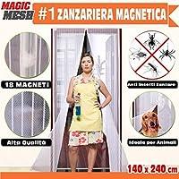 Bakaji Mosquitera magnético universal 140x 240cm blanca 18imanes cortina para puertas Magic Mesh anti insectos Moscas Mosquitos