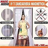 BAKAJI Zanzariera Magnetica Universale 140 x 240 cm Bianca 18 Magneti Tenda per Porte Magic Mesh Anti Insetti Mosche Zanzare