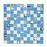 Fliesen Mosaik Mosaikfliesen Glas glänzend Muschel Bad WC Küche Dusche 8mm Neu #S04