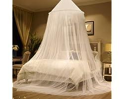 Zubita Mosquitero para Camas, Universal White Dome Malla de mosquitera, Suave y Cómodo, Adecuado para Camas Individuales y Do