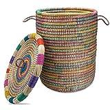 Gruener Handel Wäschekorb Orient mit Deckel Ø 40cm - Natur - Handarbeit - Fair Trade