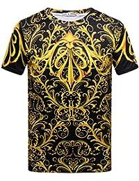 9596eca6d032 Pizoff T-Shirt Lussuosa Stampa Barocco Oro Elegante Vintage Uomo Slim Fit