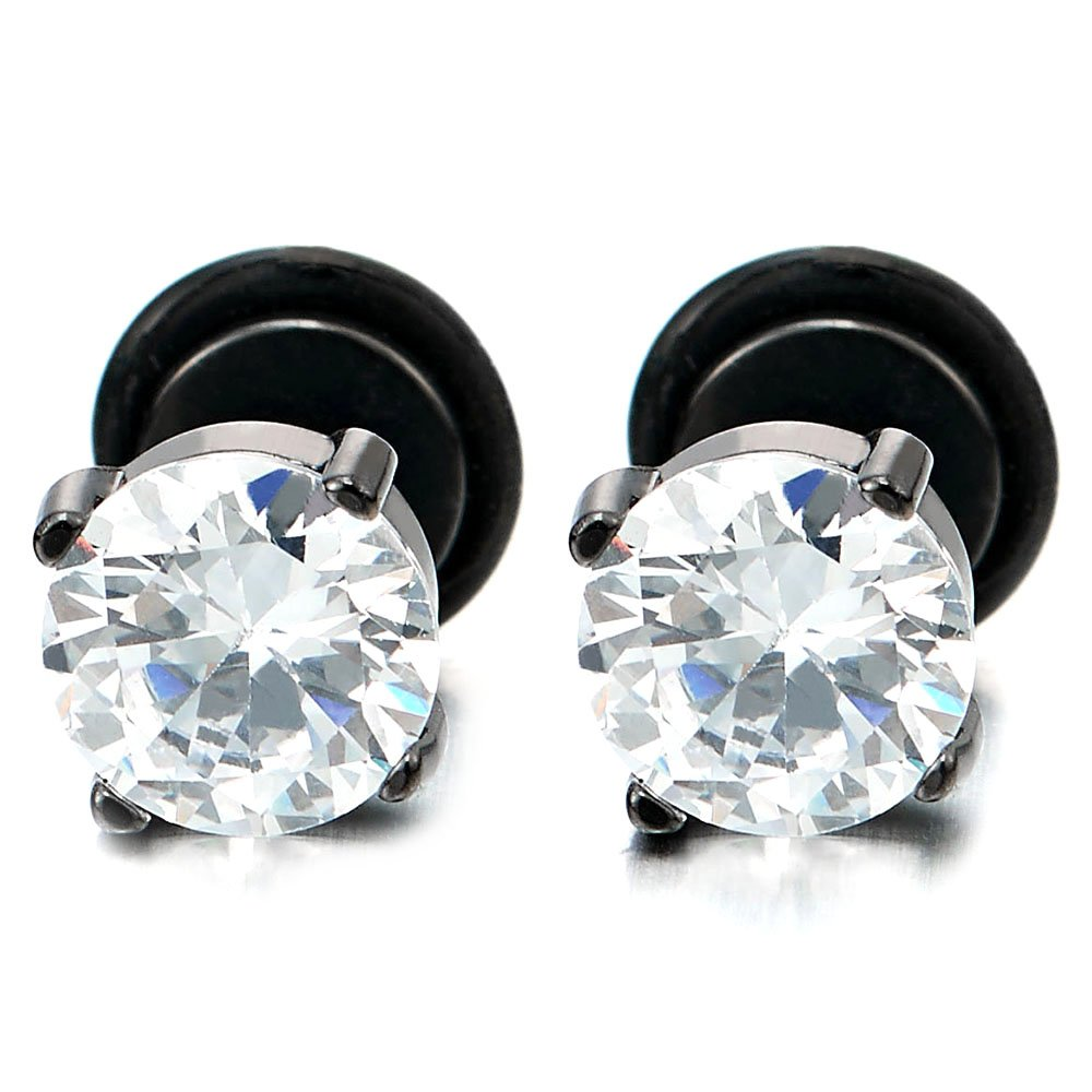 5-9MM Mens Women Black Stud Earrings with White Cubic Zirconia Stainless Steel Screw Back, 1 Pair