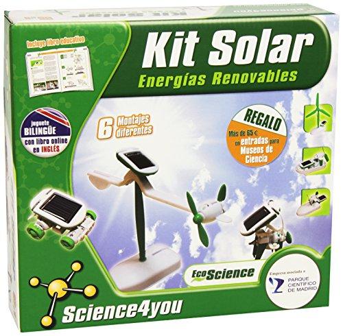 Incluye: motor con muelles, panel solar con muelles, rueda dentada con eje, 26 piezas complementarias para construir tus 6 robots solares, eje, esponja adhesiva y cables
