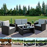 Rattan Outdoor Garden Patio/Conservatory 4 Seater Sofa and Armchair set with Cushions and Coffee Table Grey Brown Black (Black with Light Cushions, Algarve 2+1+1)
