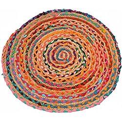 Zen * Ethic–Alfombra redonda de yute algodón –Yute, yute, color único, 60 cm