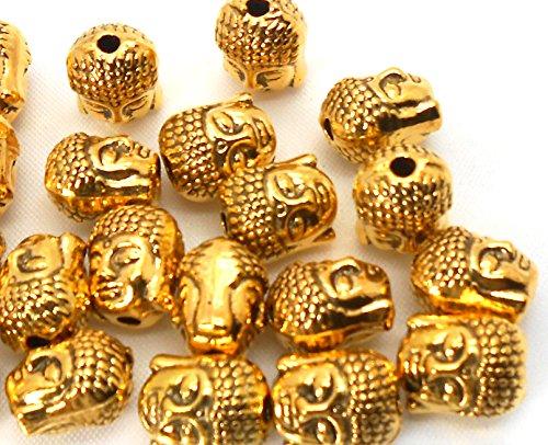 Jaz's Golden Colour Sharp Dual Sided Tibetan Buddha Bead-10 beads for Bracelet Necklace Jewelry Making