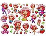 Unbekannt 35 tlg. XL Set: Wandtattoo / Sticker - Emily Erdbeer - Wandsticker Aufkleber für Kinderzimmer Erdbeere Mädchen Blume Blüten - Wandaufkleber + Fenstersticker