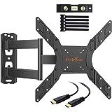 Perlegear TV Halterung, Schwenkbare Neigbare Wandhalterung für 23-55 zoll Flach&Curved Fernseher oder Monitor bis zu 45Kg, max.VESA 400x400mm