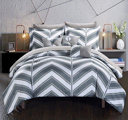 Chic Home 10Stück Surfer Chevron und geometrische Bedruckte Wende Queen Bed in a Bag Tröster Set grau Blatt-Set und deocrative Kissen enthalten