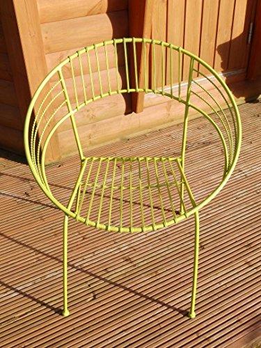 Schmiedeeisener Bistro-,Terrassen-Stuhl im Retro-Design. grün -
