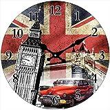 Out of the Blue Glas Uhr London Motive Durchmesser 28 cm, Wanduhr im Vintage Look mit Tower Bridge und Big Ben, ausgefallenes Geschenk für England und Retro Fans