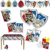 Ritter Motto-Party-Set C 60-teilig für 6 Personen Kindergeburtstag Tischdeko mit Palandi® Sticker