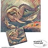 Set Regalo: 1 Póster Impresión Artística (50x40 cm) + 1 Alfombrilla Para Ratón (23x19 cm) - Dinosaurios, Mosasaurio Y Ictiosaurios, Heinrich Harder, 1912