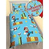 Juego de funda de edredón infantil, tamaño individual, diseño de personajes Disney (Super Mario)
