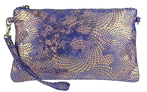 Girly HandBags New Italian Suede Snake Holographic Purse Clutch Bag -- Royal Blue
