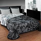 Colcha reversible estampada ANA, gris, de muy fácil lavado. (cama de 180)