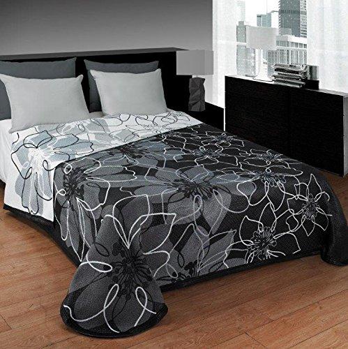 Colcha estampada ANA, gris, de muy fácil lavado. (cama de 180)