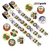 Howaf 300 Natalizi Etichette Decorative Adesivi Natalizi Stickers Decorazione per Natale Chiudi Buste Regalo Sacchetto Bomboniere
