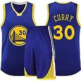 Camiseta de Baloncesto Golden State Warriors Stephen Curry Hombres # 30, Uniforme del Equipo Niños Traje Retro Sin Mangas Pol