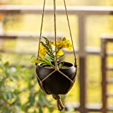 ExclusiveLane 'Black Goblet' Indoor and Balcony Home Decorative Metal Hanging Planter Pot with Jute