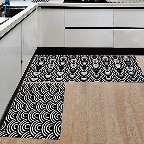 Morbuy Küchenmatte Fußmatte Innenbereich, Teppich Wohnzimmer Rutschfest und Waschbar Praktische Fußabtreter (40 * 120cm, Schwarzweiss-Welle)