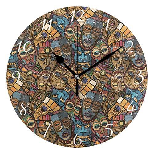 Ahomy Runde Wanduhr, afrikanisches Handwerk, Voodoo Tribal-Maske Heimkunst Dekoration, Nicht tickende Ziffern Uhr für Home Office