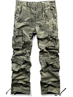 hower Mens Vintage Cotton Washed Multi Pockets Military Cargo Pant