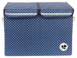 UberLyfe Kids Toy Storage Box cum Organizer - Double Flap - Blue Dotted (KSB-000047)