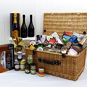 Champagne, Rose and Sparkling Wine Luxury Food Gift Hamper Presented in a Wicker Basket - Gift Ideas for Christmas presents, Birthday, Wedding , Anniversary and Corporate from Fine Food Store