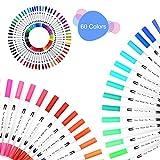 TOPmore Farben Pinselstift Set mit zwei Spitzen -60 Farben, Aquarell Dual Brushpens Marker Pen with Fineliner Tip 0.4mm und Brush Tip(1-2mm) für Schriftzüge, Coloring Entwurf und Zeichnung (60 Farben Runden)