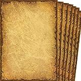TATMOTIVE Briefpapier edles Vintage altes Papier Casanova, 90g DIN A4 Beidseitig, 20 Blatt, braun