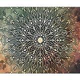 decomonkey | Fototapete Mandala Modern 350x256 cm XL | Tapete | Wandbild | Bild | Fototapeten | Tapeten | Wandtapete | Wanddeko | Orient Zen Grün Braun Beige