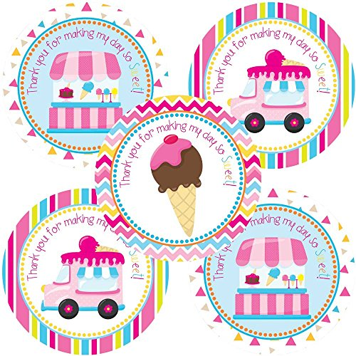 orations - EU Eiscreme-Party danken Ihnen Aufkleber Aufkleber - Mädchen-Party Favor Etiketten und Umschlag Aufkleber - Set 30 ()