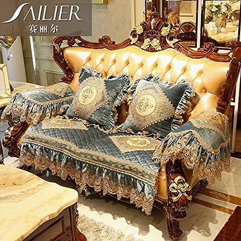 serviette de canapé/coussins de canapé de style européen/luxe,canapé en cuir de haute qualité/tapis anti-dérapant-A 86x90cm(34x35inch)