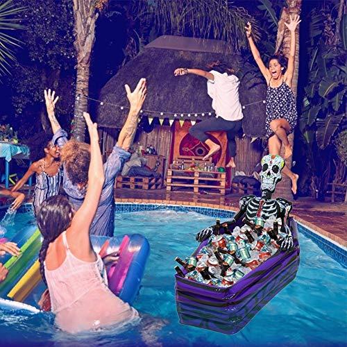 NAKELUCY Skeleton Ice Bucket - Bier Eimer Kühler, Schwimmender Pool Kühler Aufblasbarer Eiskübel Pool Getränkehalter Für Bar Home Halloween Thema Party Dekor Für Erwachsene