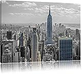 Pixxprint New Yorker Skyline mit Empire State Building Schwarz/weiß, Format: 120x80 auf Leinwand, XXL riesige Bilder fertig gerahmt mit Keilrahmen, Kunstdruck auf Wandbild mit Rahmen.